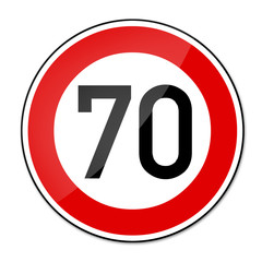 Verkehrsschild Geschwindigkeitsbegrenzung 70km/h
