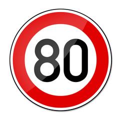 Verkehrsschild Geschwindigkeitsbegrenzung 80km/h