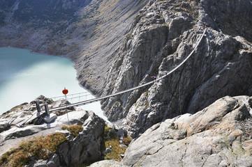 Trift, famous 170m hanging bridge. Switzerland
