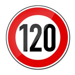 Verkehrsschild Geschwindigkeitsbegrenzung 120km/h