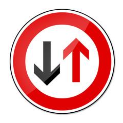 Verbotsschild RAL 3001 signalrot - Gegenverkehr Vorrang gewähren