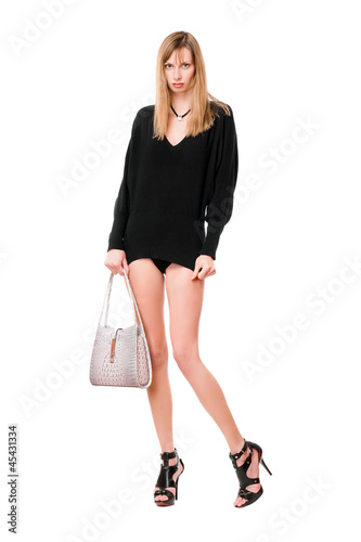 Sensual woman with the purse