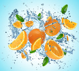 Oranges in water explosion
