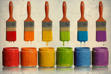 Paintbrushes Dripping into Paint Containers