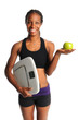 Woman Holding Scale and apple