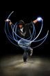 Man Dancing With Light Painting