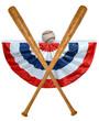 Постер, плакат: Baseball Bats Ball and Banner