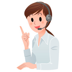 Customer service woman pointing up with a smile in headset