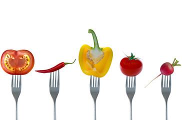 Gemüse auf Gabeln