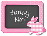 Bunny Nap, nursery frame board, baby rabbit in pastel pink check