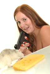 woman with gun and rat
