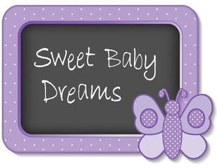 Sweet Baby Dreams, nursery frame, lavender butterfly, polka dots