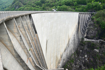 Dam of power station in Verzasca valley, Switzerland