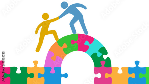 People help join solve bridge puzzle