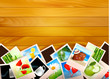 Colorful photos on wooden background. Vector