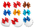Big collection of colorful gift bows and labels.