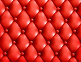Red button-tufted leather background. Vector