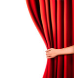 Background with red velvet curtain and hand. Vector