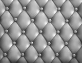 Grey button-tufted leather background. Vector illustration.