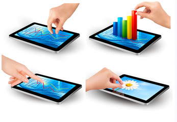 Set of tablet screen with graph and a hand. Vector.