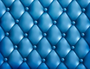Blue button-tufted leather background. Vector