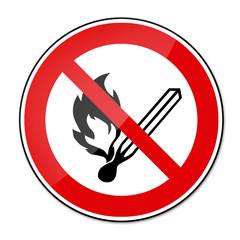 Verbotsschild BGV A8 - Feuer, offenes Licht und Rauchen verboten