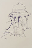 pen architectural sketch drawing Turkish pavilion in Livadia, Uk