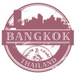 Grunge rubber stamp with the name of Bangkok, Thailand