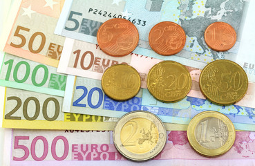 Euro notes and coins. One cent  to five hundred