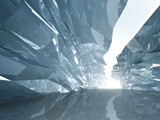 Bent crystal corridor with rugged walls and glowing end