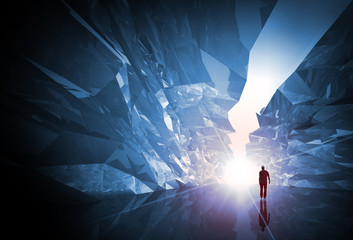 Man walks through the fantasy crystal corridor with glowing end