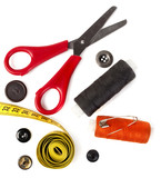 tools for needlework thread scissors and tape measure poster