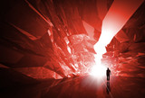 Man walks through the red crystal corridor with glowing end