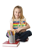 Girl with books and abacus