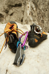 climbing shoes on the stone.