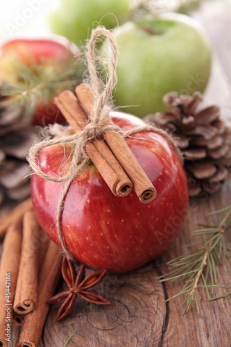 apple,cinnamon and decoration