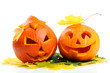 Two orange halloween pumpkins Jack O Lanterns