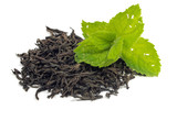 dry black tea leaves and mint