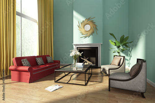 Fresh wlegant green luxury living room with fireplace