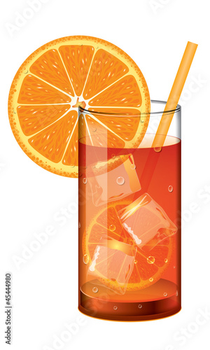 Cocktail with orange juice and ice cubes on white background. - 45444980