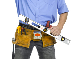 construction worker with a level ruler