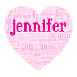 """JENNIFER"" Tag Cloud (i love you be valentine card heart)"