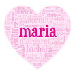 """MARIA"" Tag Cloud (birth girl love valentine card heart)"