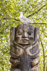 Seagull on Inuit Statue in Seattle Park