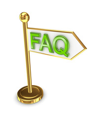 Golden arrow with a word FAQ.
