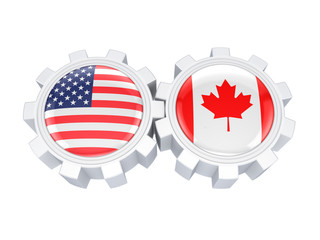 American and canadian flags on a gears.