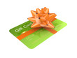 Green credit card decorated with an orange ribbon.