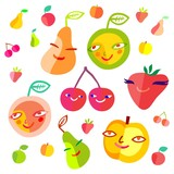 Colorful fruit set (raster version)