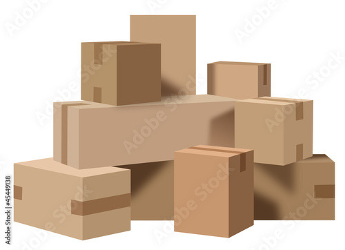 boites carton d m nagement fichier vectoriel libre de droits sur la banque d 39 images fotolia. Black Bedroom Furniture Sets. Home Design Ideas