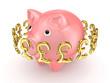 Pound sterling signs around pink piggy bank.